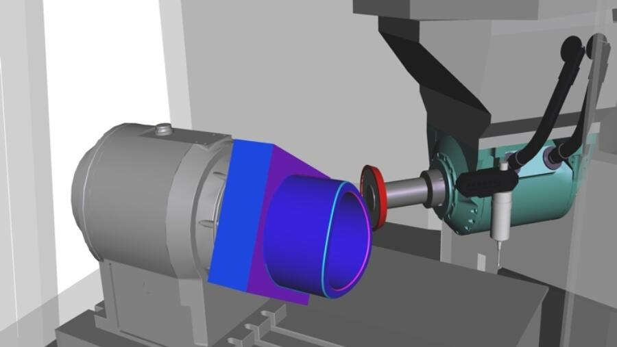 Extended machine simulation with 3D model and grinding wheel during corner bevel processing