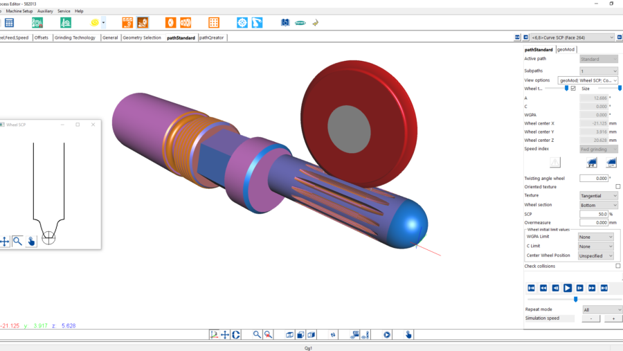 Qg1 Simulation des Schleifprozesses von Kerbverzahnungen inklusive Berechnung der Schleifscheibenform